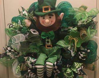 St Patrick's Day Deco Mesh Wreath