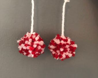 White Candy Cane Pom Earrings