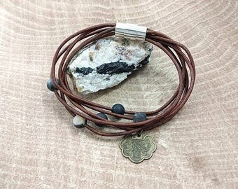 Leather Bracelet with Aventurine