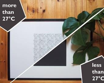 Face Code // Poster // Thermo Ink // Thermocromic // Siebdruck // Gesichtermuster // pattern // Gesichtsausdrücke // schwarz weiß // 70x50cm