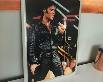 Vintage Elvis Lacquered Wall Clock, THE KING throwback 70's wall clock, elvis nostalgia, elvis paraphernalia, elvis collectible