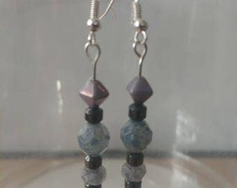 Violet Czech Glass and Hematite earrings
