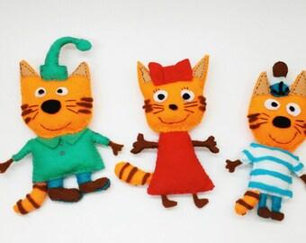 Set Happy Felt Cats Toy Gift