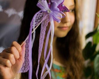 Purple Glitter Magic wand Butterfly Fairy Wand flower wand fairy wand princess wand wand for girl ribbon wand christmas flower girl wand