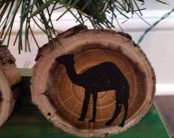 Camel Wood Slice Ornament
