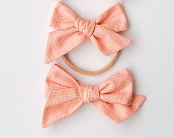 Peach Grid | baby headband, hand tied bows, hair bows, nylon headband, alligator clip, oversized bow, pinwheel bow