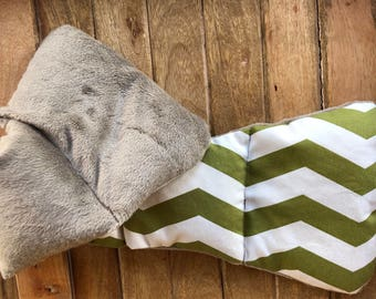 Handmade Neck Warmer Eucalyptus Scented - Green White Chevron - Microwavable - Rice Filled