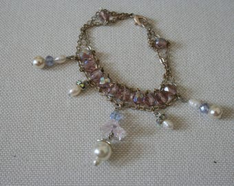 Delicate Silver, Lavender Bead and Pearl Bracelet