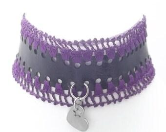 Choker Necklace, Genuine Leather, Crochet Collar, Stainless Steel Jump Rings, Star Heart, Steel Pendant, Trending Now, Best Selling, Gift
