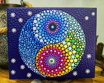 yin yang Mándala canvas,vibrant and tactile,dot art