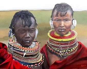 """Portrait painting-Acrylic on canvas """"Turkana"""""""