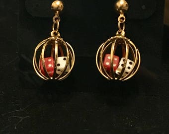 Caged Dice Dangle Earrings