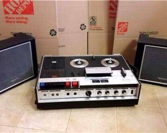 Sony TC-330 Four Track Stereo Cassette / Reel to Reel Tape Recorder with speakers