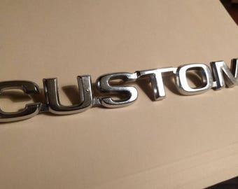Vintage Ford Custom Emblem EOTB 16B114 C Truck Nameplate Badge Trim OEM Chrome