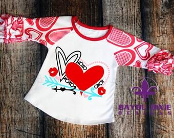 Valentine's Day Hearts - Children's Valentine Ruffle Raglan Shirt