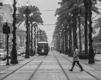Foggy Morning on Canal Street -  New Orleans Fine Art Photograph - Street Photography - Black and White - Fine Art Print - Canal Street