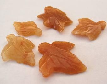 Carnelian Carved Leaf Gemstone Pendant Beads, Limited Edition Semi Precious Gemstone Leaf Pendant Bead, Carnelian Fall Leaf Beads (CLF-032)
