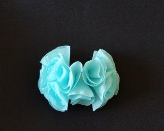 NEW!  Baby Blue Chiffon Flower Hairpiece