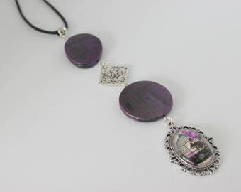 Original vertical necklace cabochon bird cage and purple, purple, silver acrylic.