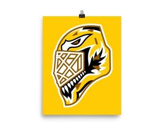 "Yellow ""92"" Goalie Mask Poster"