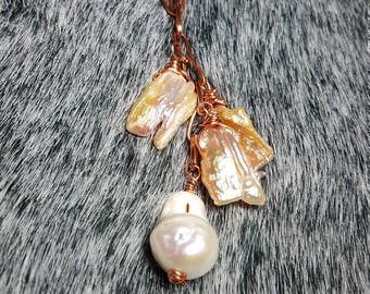 Baroque and Biwa Stick Pearl waterfall necklace on copper chain