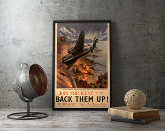 """WW2 Propaganda Poster - """"Join The R.A.A.F"""" WWII Recruiting recruitment wall art vintage prints supermarine spitfire, airplane, aviator, vtg"""