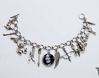 The Walking Dead Daryl Inspired Photo Charm Bracelet Zombie Apocalypse TV Series