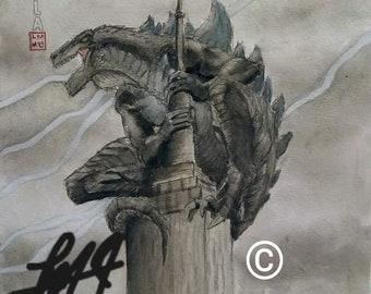 Zilla watercolor prints