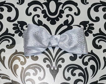 Silver Stacked Hair Bow