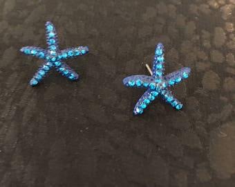 Navy Blue Crystal Star Fish Earring Studs