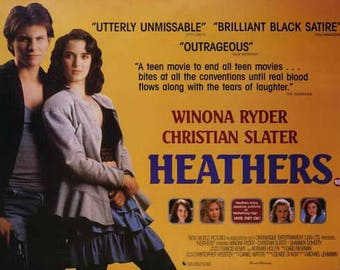 Heathers (1988) movie poster 11 x 17 Christian Slater Winona Ryder Shannen Doherty black comedy New World Pictures