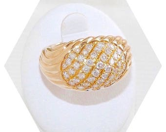 18 K Gold / / large ring yellow gold - 13.95 gr - diamonds - 0.88 ct