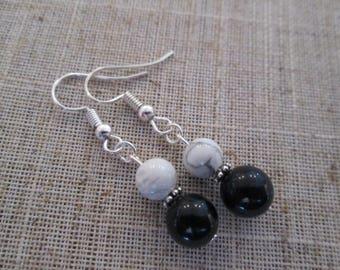 Black Onyx & Howlite Bead Earrings