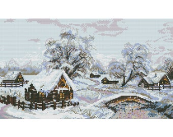 Cross Stitch Pattern Winter, village, landscape counted embroidery