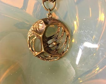 "Vintage ""Spider web"" bronze pendant and chain designed by Karl Laine for Sten & Laine Finland 1970's."