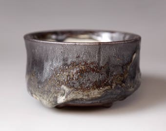 Glost-fired Earthen Teacup- Rich texture,japanese style tea cup handmade Food safe Lead free Glaze, mixed purple black and silver colour.