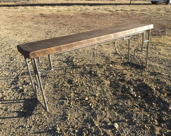 Reclaimed wood and metal bench