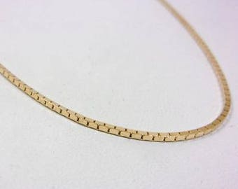 """Solid 14K Yellow Gold 18"""" 1.1mm Box Link Chain Necklace, 5.3 grams"""