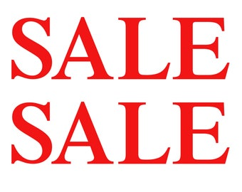 2 x SALE Sign Shop Window Retail Sign Decals High Quality Vinyl Stickers - 55 cm  x 16 cm