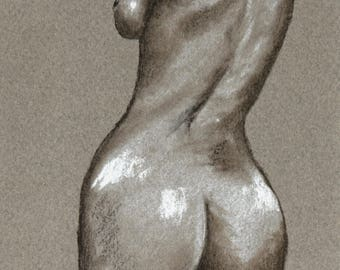 Nude study in pastel drawing of a naked back woman nude woman