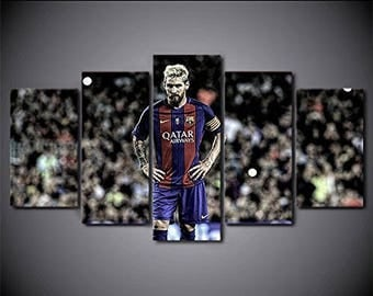 Barcelona Fc Messi art print canvas 5 pieces
