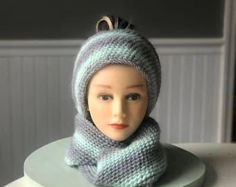 Aqua & grey Infinity scarf
