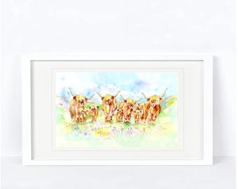Highland Cow Print. Printed from an Original Sheila Gill Watercolour. Fine Art, Giclee Print, Hand Painted,Home Decor