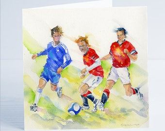 Football Match Greeting Card - Taken from an original watercolour.