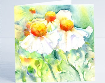 White Tree Poppy Flower Greeting Card by Sheila Gill