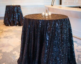 "Black Sequin Table Cloth Square 90""x156"