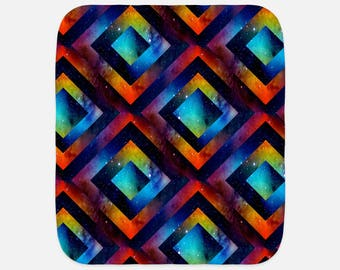 "Lovely Rainbow Geometric Space Print - 12""x16"" Baby Burp Cloth - Baby Gift - Newborn Gift"