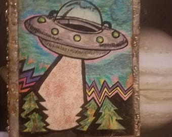 UFO art with hand made solder frame (size 4×6 inches)