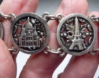 Vintage French Bracelet, Paris, 7 Plaques, White Metal, Eiffel Tower, Notre Dame, Arc de Triomphe,  Bracelet, Gift, Weighs 25 g Lot 1095)