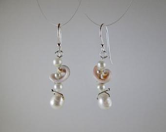 """Pearl & Shells """"PoseidonPrincess"""" Earrings on Sterling Silver"""